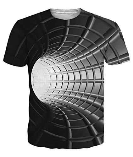 IDGREATIM Donna Uomo Universo Cielo Stellato 3D Stampa T-Shirt Manica Corta Casual Top Tees