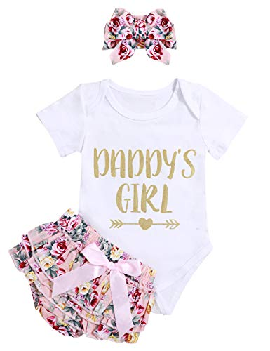 Infant Baby Girl Clothes Daddy's Girl Letter Print Romper Floral Bloomers with Headband 3PCs Toddler Outfits Set (0-3months/size70)