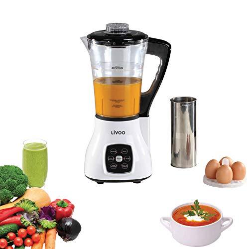 LIVOO DOP140W Blender Chauffant Multifonction | 6 Programmes prédéfinis Smoothies, Soupes, Sauces, Cuisson Vapeur etc |Couteau 4...