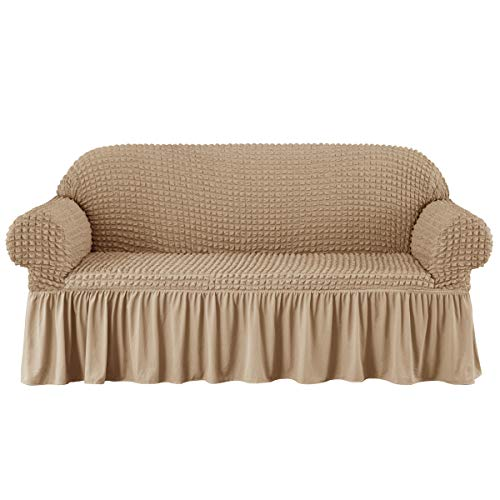 subrtex Stretch Sofa Couch Slipcover 1 Piece Universal Seersucker Armchair Protector with Ruffle Skirt Country Style Durable All-Purpose Furniture Cover(Large,Oatmeal)