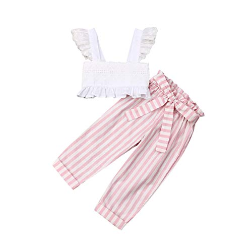 Toddler Baby Girls 2Pcs Set,Kids Ruffle Vest Crop Tops+Floral Wide Leg Pants Summer Outfits (5-6 Years, Stripe)