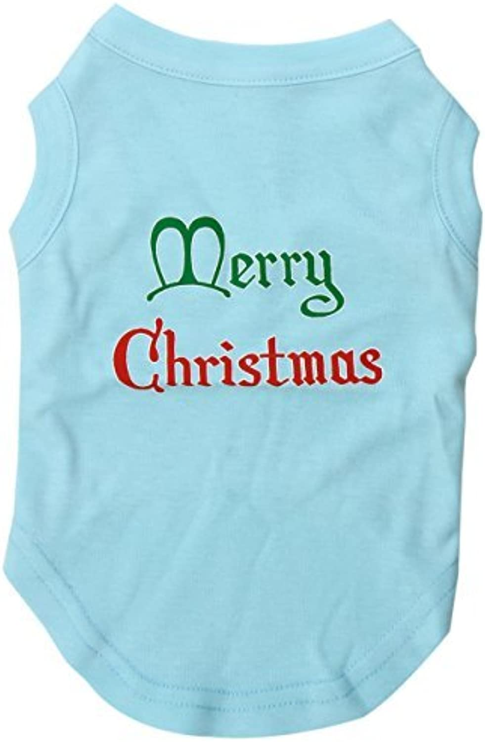 Mirage Pet Products 12Inch Merry Christmas Screen Print Shirts for Pets, Medium, Aqua by Mirage Pet Products