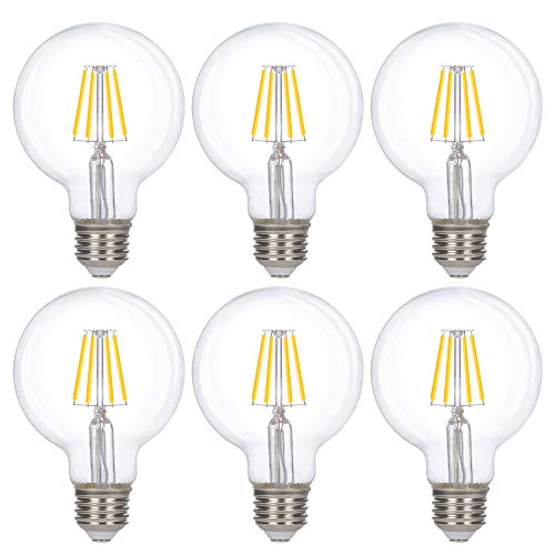 Simba Lighting LED Edison Vintage Vanity Globe Filament G25 (G80) 6W Dimmable 60W Equivalent (6 Pack) 120V Light Bulb for Bathroom Makeup Mirror, Medium E26 Base, CE and RoHS, Natural White 4000K