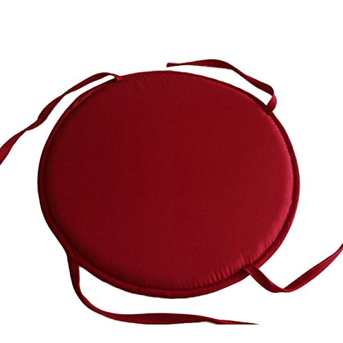 SHUNYUS Cojín de asiento redondo para silla de cocina, comedor, patio, silla de asiento, cojín de muebles, circular, color rojo oscuro