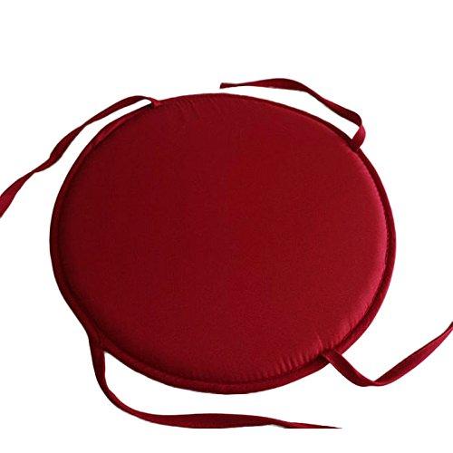 SHUNYUS Stuhlkissen zum Festbinden, rund, für Küche, Esszimmer, Terrasse, Stuhlkissen, Möbelkissen, rund, dunkelrot