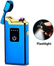 SunTime Dual Arc Lighter with Flashlight USB Rechargeable Flameless Windproof Mini Electric Double Plasma Lighter for Cigar Candle Cigarette Pipe (Blue)