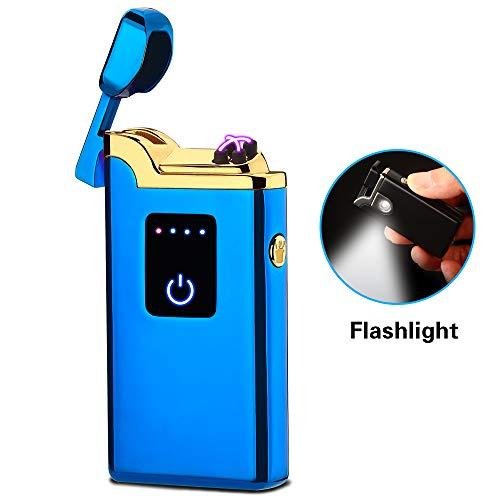 SANShine Dubbele aansteker met zaklamp, dubbele plasma-USB-oplaadbaar, vlamloos, waterdicht, winddicht, mini-elektrische voor sigaarkaars, sigarettenfluitje, regenboogkleuren, zwart