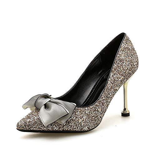 AERTY Zapatos de Vestir de Club de Ocio de Vacaciones de Tacones Altos con Lazo Negro en Polvo Dorado para Mujer, 5 cm 8925~6 gold-37EU