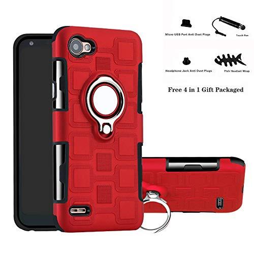 Labanema LG Q6 Funda, 360 Rotating Ring Grip Stand Holder Capa TPU + PC Shockproof Anti-rasguños teléfono Caso protección Cáscara Cover para LG Q6 / Q6 Plus / Q6 Mini - Rojo