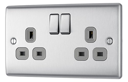 2x Caoutchouc Extension Lead Socket fin simple Gang Socket 13Amp 2 Pack
