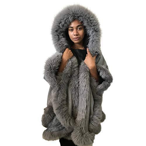 Poncho Super-cheap Cape hood cashmere fur Spasm price fox trim