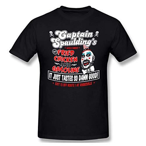 Camiseta básica de Manga Corta con Cuello Redondo para Hombre Captain-Spaulding Algodón Casual Tops L