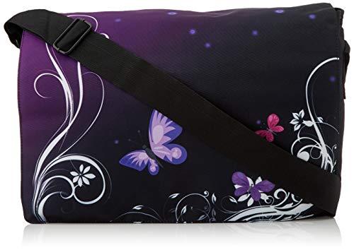 Luxburg® - Bolso de mensajero con bandolera, para el trabajo, la escuela y el ocio, Multicolor (mariposas moradas), 17
