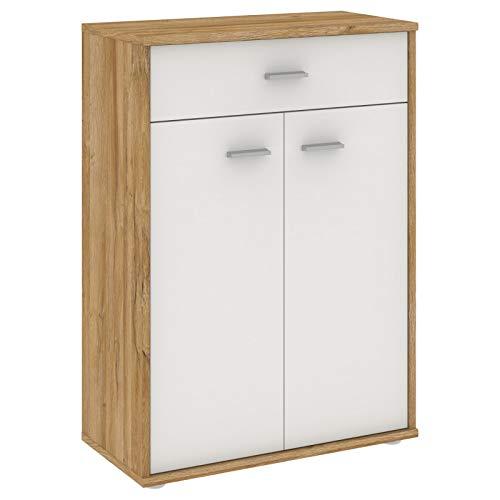CARO-Möbel Kommode Sideboard Schrank Tommy in Wildeiche/weiß, Anrichte Highboard mit Schublade und 2 Türen