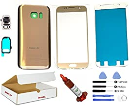 (md0410) Gold front outer glass lens + back cover + camera lens flash cover replacement Compatible Galaxy S7 G930 + adhesive + opening tool + (LCD screen & touch digitizer not included)