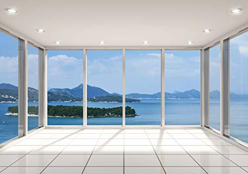 decomonkey Fototapete Fenster zum Meer 350x256 cm XXL Design Tapete Fototapeten Vlies Tapeten Vliestapete Wandtapete moderne Wand Schlafzimmer Wohnzimmer Landschaft Natur Fensterblick