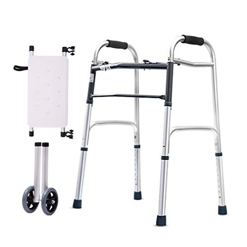 Wheeled Rollator Walker for Elderly Adult,Folding Shower Chair with Seat,Bariatric Walking Frame - Adjustable Height Transport Chairs