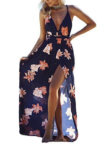 Vestido Verano Mujer Largo para Playa Vacaciones Casual sin Mangas con Cuello Colgante Redondo Boho Vestido Espalda Abierto Elegante Floral Moderno Feoya