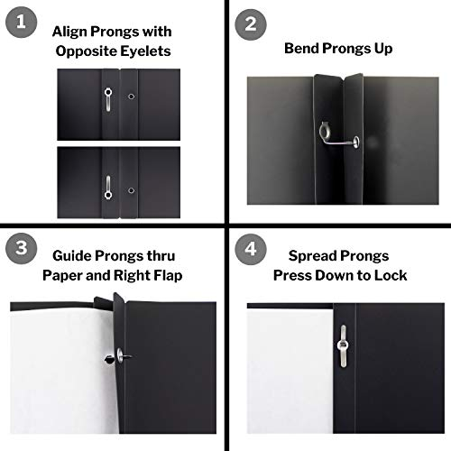 Dunwell Black Folders with Prongs and Pockets- (12 Pack of Folders) Plastic Folders with Fasteners, Letter Size 2-Pocket Folders for Office, Professional Folders with Pockets, Include Removable Labels Photo #6