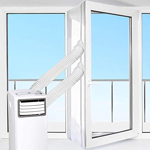 SHE03AIRSTPVT Fensterabdichtung für mobile Klimageräte und Ablufttrockner, Hot Air Stop mit Reißverschluss, Für Dachfenster und Balkontür geeignet, Weiß