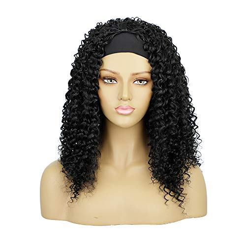 TSNOMORE Headband Wigs for Black Women, Curly Long Black Wigs, Heat Resistant Wigs for Everyday Wear (Straight)