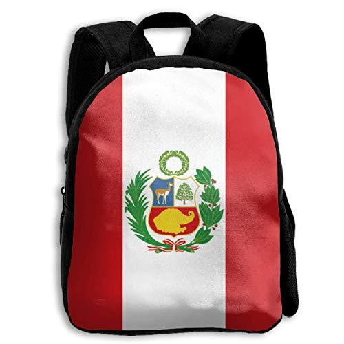 Mochila Bolsa,Bandera De Perú Mochila para Niños, Mochilas Escolares Adecuadas para Niños Viajes Al Aire Libre,27cm(W) x34cm(H)