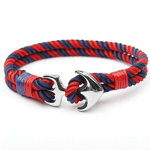 NKSS Mens Bracelets Anchor Bracelets Men Nautical Survival Rope Bracelet Male Wrap Metal Sport Hooks-A15
