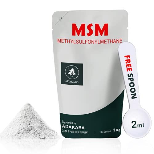 ADAKABA MSM Polvo de 1 kg. Calidad alemana con satisfacción garantizada. Polvo de metilsulfonilmetano con 100% de pureza. Ideal contra el dolor articular o como suplemento dietético.