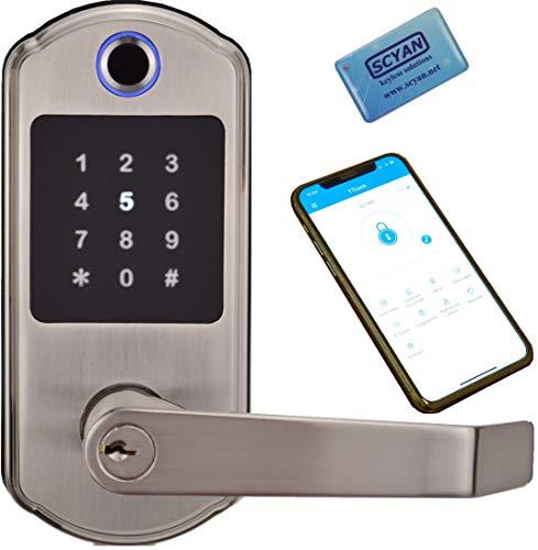 SCYAN X10 Bluetooth Enabled Fingerprint Touchscreen Key Fob Door Lock in Satin Nickel, Non-Handed