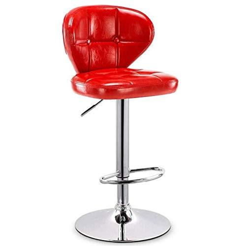 IAIZI Moderne, in hoogte verstelbare barkruk, barkruk, keuken, eetkamerstoel met rugleuning en zitting van leer, gevoerde zitting, verstelbare gashendel, stalen voetensteun