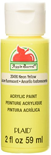 Apple Barrel Acrylic Paint in Assorted Colors (2 oz), 20490, Neon Yellow