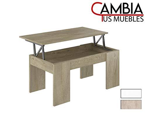CAMBIA TUS MUEBLES - Mesa de Centro elevable para Comedor, salón PREMIER2, Color Roble, Mesa Auxiliar (Roble)