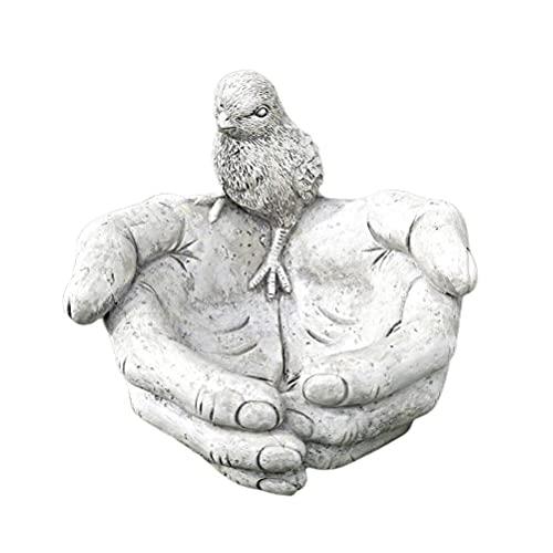 Lipeed Baño para pájaros, Efecto Piedra, sosteniendo el comedero para pájaros, Adornos de decoración del jardín en casa, Cuenco de Comida, comedero para pájaros, sosteniendo Las Manos de los P