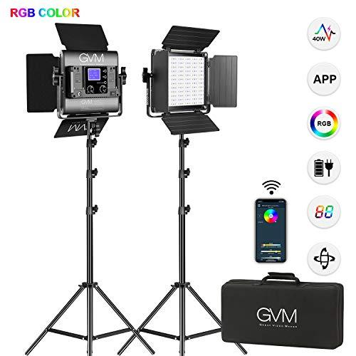 Luce video a LED GVM con treppiede, controllo APP Illuminazione video RGB a colori CRI97 Dimmerabile 2300K-6800K Illuminazione fotografica a LED Per v