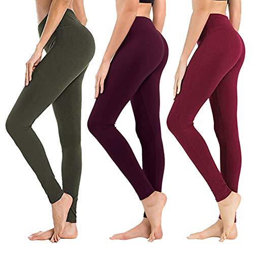 Leggings mit hoher Taille für Frauen – Weiche athletische bauchformende Hose für Laufen, Radfahren, Yoga, Workout – Übergröße, Damen, 3er Pack Olive, Vintage Violett, Weinrot, Small/Medium