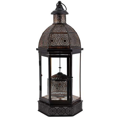 Laterne braun, Drehlaterne mit Teelichter, Windlicht Höhe ca. 55cm
