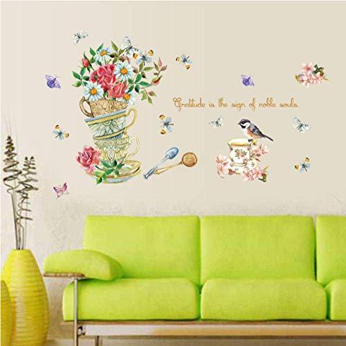 GVFTG beker, handbeschilderd, bloemenkast, hal, slaapkamer, tv-vloer, decoratie, waterdicht, afneembaar, wandetiket 50 x 70 cm