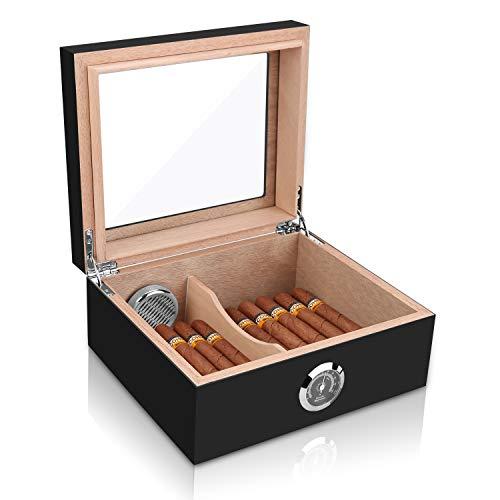 Cigar Humidor, Spanish Cedar Wood Cigar Desktop Box, Glass Top for 25-50 Cigars Luxury Hygrometer and Humidifier, Desktop Humidors Gloss Black