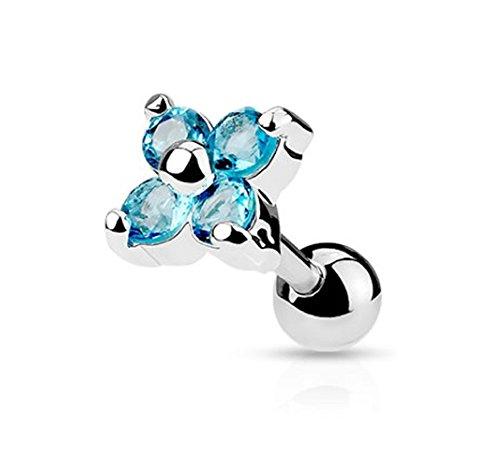 Gekko de piercings para el cartílago acero quirúrgico (1,2 mm) la oreja o para el 16 de gran calibre/para el cartílago de la tener la oreja de tuerca/pesas con Aqua CZ diseño de flores