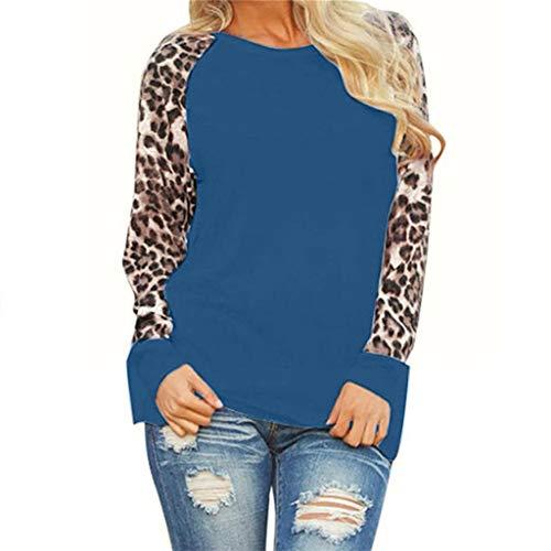 Auifor dames luipaard blouse lange mouwen mode dames t-shirt top