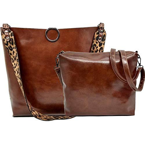 Damen-Handtasche mit Leopardenmuster, Leder, Tragegriff, große Schultertasche, 2 Stück, Braun (braun), Large