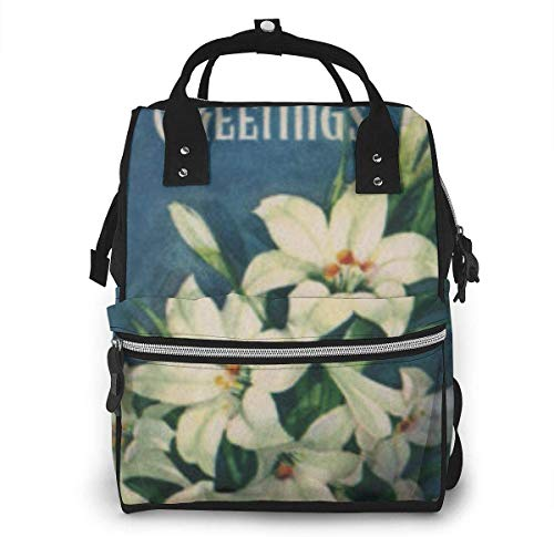 Diaper Bag Backpack Travel Bag Large Multifunction Waterproof Religious Easter Greetings Lily Flowers Linen Stylish and Durable Nappy Bag for Baby Care School Backpack