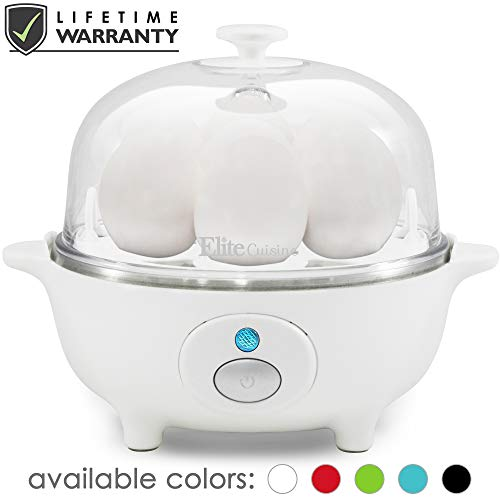 Maxi-Matic EGC-007 Easy Electric Egg Poacher, Omelet, Scrambled, Soft, Medium, Hard-Boiled Boiler Cooker with Auto Shut-Off and Buzzer, Measuring Cup Included, BPA Free, 7 Capacity, White