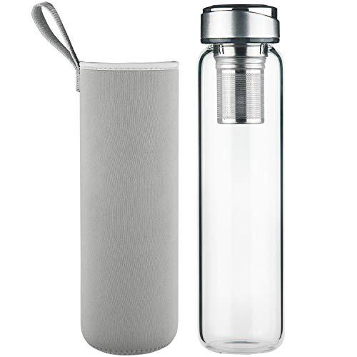 DEARRAY Glas Teeflasche für unterwegs mit Edelstahl Sieb 1000ml / 1 Liter, Teekanne mit Filter to go, Borosilikatglas Wasserflasche mit Neoprenhülle und Stilvoll Edelstahl Deckel
