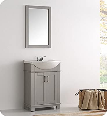 """Fresca FVN2302GR-CMB Hartford 24"""" Gray Traditional Bathroom Vanity with Sink Combo (Faucet & Mirror not Included)"""