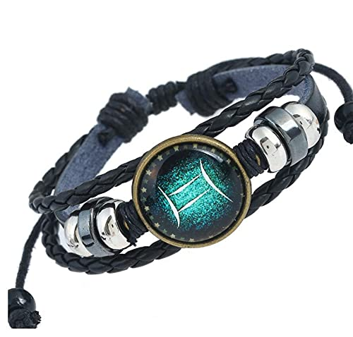 LHFD 12 Constellation Leather Unisex Bracelet,Pulsera con dijes de constelación para Hombres, de múltiples hebras Trenzadas, de Cuero de PU, con Signo del zodíaco, Brazalete, Conjunto de Joyas