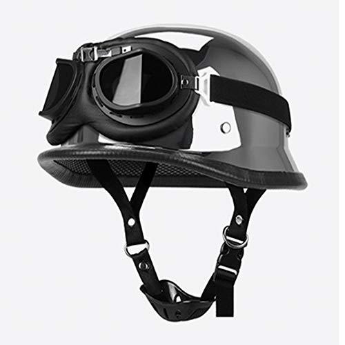 Classic Retro Adult Men and Women Lightweight German Style Urban Racing Motorcycle Half Helmet Quick Release Buckle Cruiser Riding DOT Certification,1,XXL