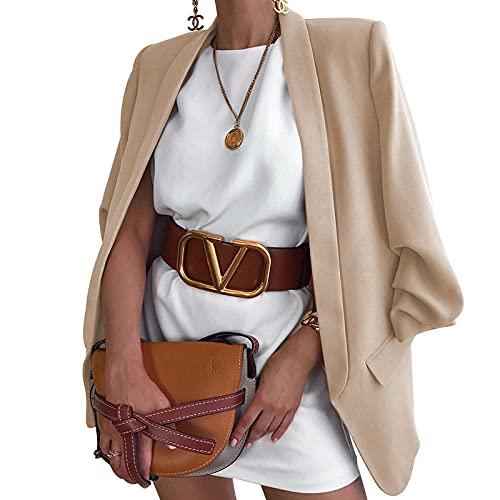 YANGPP Blazers de Mujer,Chaqueta De Punto Chaqueta De Punto con Solapa De Moda Chaqueta De Punto Delgado Traje Pequeño-Beige_M