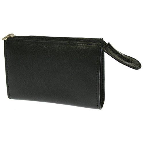 Monedero de piel negro rectangular - Piel Legítima SK-05N - Mujer