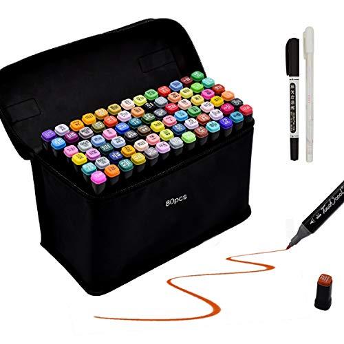 Gucheng 80 Farbige Stift Fettige Mark Farben Marker Set,Twin Tip Textmarker Graffiti Pens für Sketch Marker Stifte Set für Studenten Manga Kunstler Design Schule Drawing Sketch (Schwarz, 80)